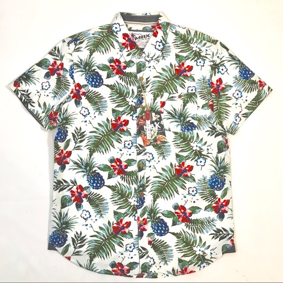 e1e81b2f MBX Denim Wear Shirts | Hawaiian Slim Fit Shirt Greenpink | Poshmark
